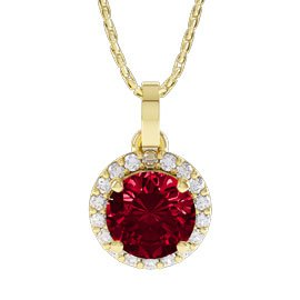 Eternity 1ct Ruby 18ct Gold Halo Pendant