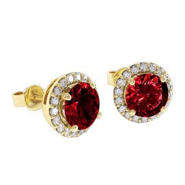 Eternity 2ct Ruby Halo 18ct Yellow Gold Stud Earrings