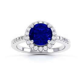 Eternity 1ct Sapphire and Diamond Halo Platinum Engagement Ring