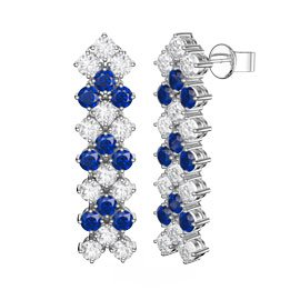 Eternity Three Row Sapphire and Diamond CZ Silver Drop Earrings