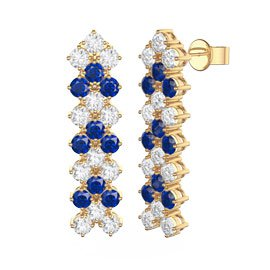 Eternity Three Row Sapphire and Diamond CZ 18ct Gold plated Silver Drop Earrings
