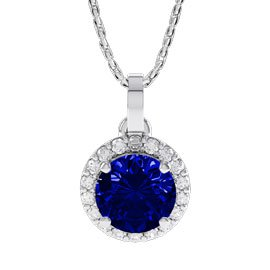Eternity 1ct Sapphire 18ct White Gold Halo Pendant