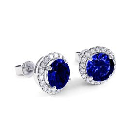 Eternity 2ct Sapphire Halo Platinum plated Silver Stud Earrings