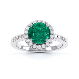 Eternity 1ct Emerald and Diamond Halo Platinum Engagement Ring