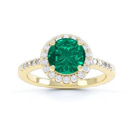 Eternity 1ct Emerald Halo 18ct Gold Vermeil Promise Ring