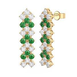 Eternity Three Row Emerald and Diamond CZ 18ct Gold plated Silver Drop Earrings
