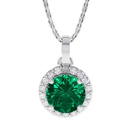 Eternity 1ct Emerald Halo Platinum plated Silver Pendant