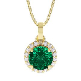 Eternity 1ct Emerald Halo 18ct Gold Vermeil Pendant