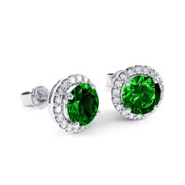 Eternity 2ct Emerald Halo 18ct White Gold Stud Earrings