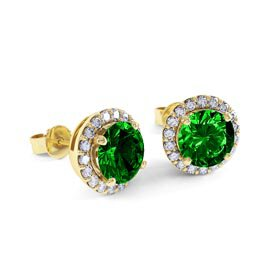 Eternity 2ct Emerald Halo 10K Yellow Gold Stud Earrings