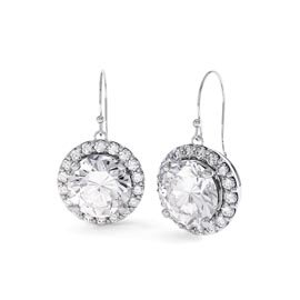 Eternity 2ct White Sapphire Halo Platinum plated Silver Drop Earrings