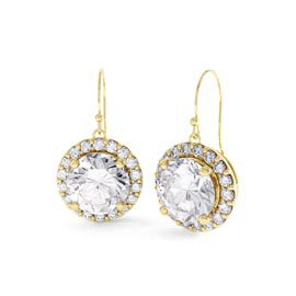 Eternity 2ct White Sapphire Halo 18ct Gold Vermeil Drop Earrings