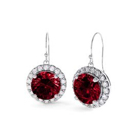 Eternity 2ct Ruby Halo Platinum plated Silver Drop Earrings