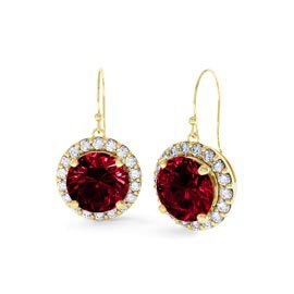 Eternity 2ct Ruby Halo 18ct Gold Vermeil Drop Earrings