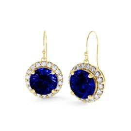 Eternity 2ct Sapphire Halo 18ct Gold Vermeil Drop Earrings