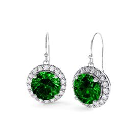 Eternity 2ct Emerald Halo 18ct White Gold Drop Earrings