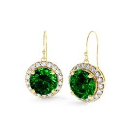Eternity 2ct Emerald Halo 18ct Gold Vermeil Drop Earrings