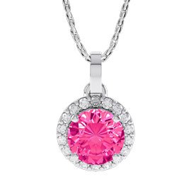 Halo 1ct Pink Sapphire and Diamond Halo 18ct White Gold Pendant