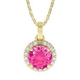 Halo 1ct Pink Sapphire and Diamond Halo 18ct Yellow Gold Pendant