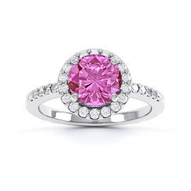 Halo 1ct Pink Sapphire Halo Platinum plated Silver Promise Ring