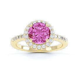 Halo 1ct Pink Sapphire Halo 18ct Gold Vermeil Promise Ring