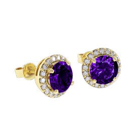 Halo 2ct Amethyst 18ct Gold Vermeil Stud Earrings