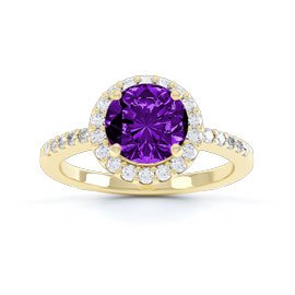 Halo 1ct Amethyst Halo 18ct Gold Vermeil Promise Ring