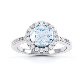 Eternity 1ct Aquamarine Halo 18ct White Gold Engagement Ring
