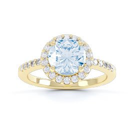 Eternity 1ct Aquamarine Halo 18ct Yellow Gold Engagement Ring