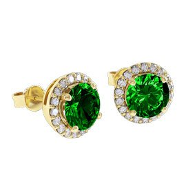 Halo 2ct Chrome Diopside 18ct Gold Vermeil Stud Earrings