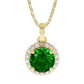 Halo 1ct Chrome Diopside 18ct Gold Vermeil Pendant
