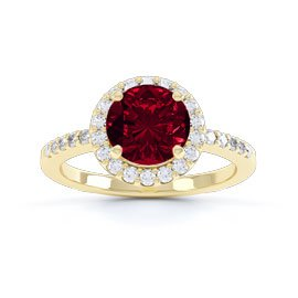 Halo 1ct Garnet 18ct Gold Vermeil Halo Promise Ring