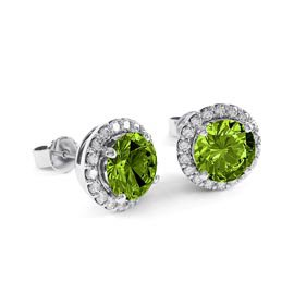 Halo 2ct Peridot Platinum plated Silver Stud Earrings