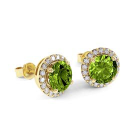 Halo 2ct Peridot 18ct Yellow Gold Stud Earrings