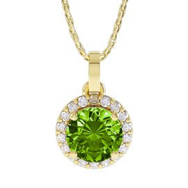 Halo 1ct Perdiot and Diamond Halo 18ct Yellow Gold Pendant