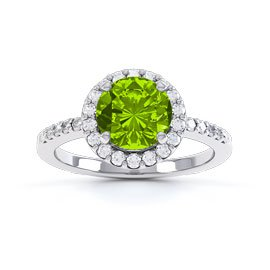 Halo 1ct Peridot Platinum plated Halo Silver Promise Ring