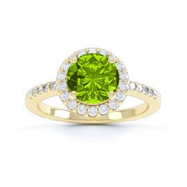 Halo 1ct Peridot 18ct Gold Vermeil Halo Promise Ring