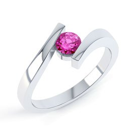 Combinations Pink Sapphire Round Stacking Silver Ring