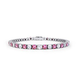 Halo Pink Sapphire Platinum plated Silver Tennis Bracelet