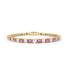 Halo Pink Sapphire CZ 18K Gold plated Silver Tennis Bracelet