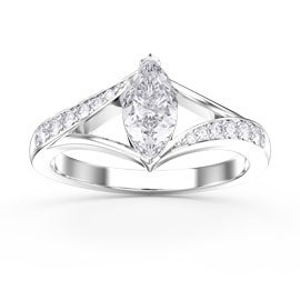 Unity Marquise White Sapphire 18ct White Gold Proposal Ring