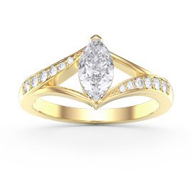 Unity Marquise White Sapphire 18ct Yellow Gold Proposal Ring