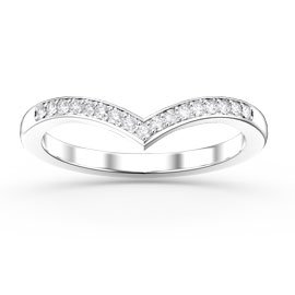 Unity Wishbone White Sapphire 18ct White Gold Wedding Ring