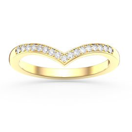 Unity Wishbone White Sapphire 18ct Yellow Gold Wedding Ring
