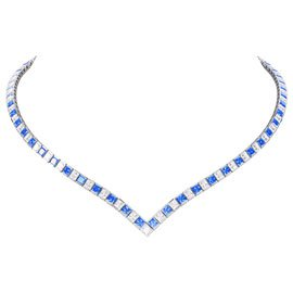 Princess Sapphire 18ct White Gold Tennis Necklace