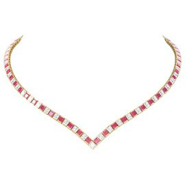 Princess Ruby CZ 18ct Gold plated Silver Tennis Necklace