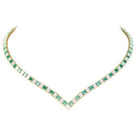 Princess Emerald and Diamond 18ct Yellow Gold Tennis Necklace