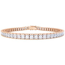 Princess White Sapphire 18ct Rose Gold Tennis Bracelet