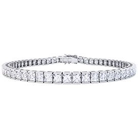 Princess White Sapphire 18ct White Gold Tennis Bracelet