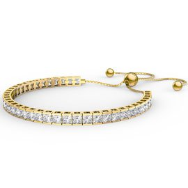 Princess Diamond CZ Gold plated Silver Fiji Friendship Tennis Bracelet